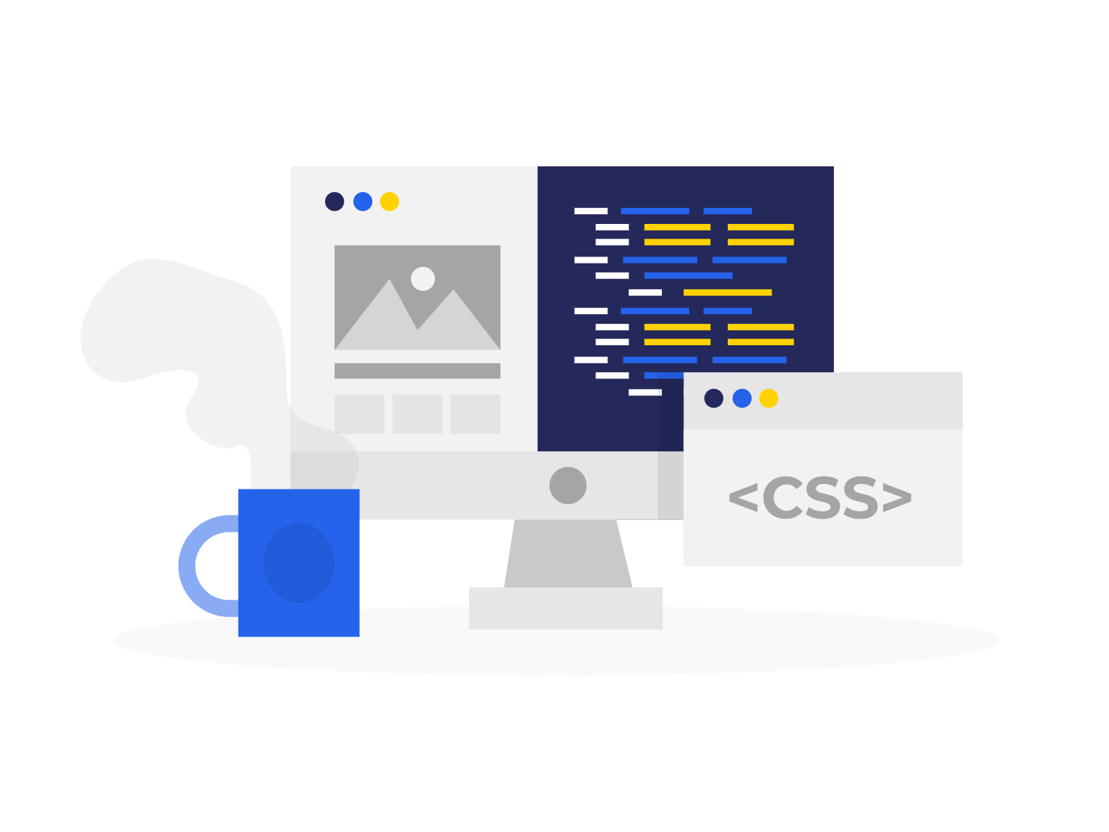 Illustration with a cup of coffee in the foreground and computer with webpage content and webpage code in the background